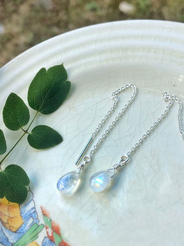 Sterling Silver Aurora Borealis Moonstone Threaders - product image