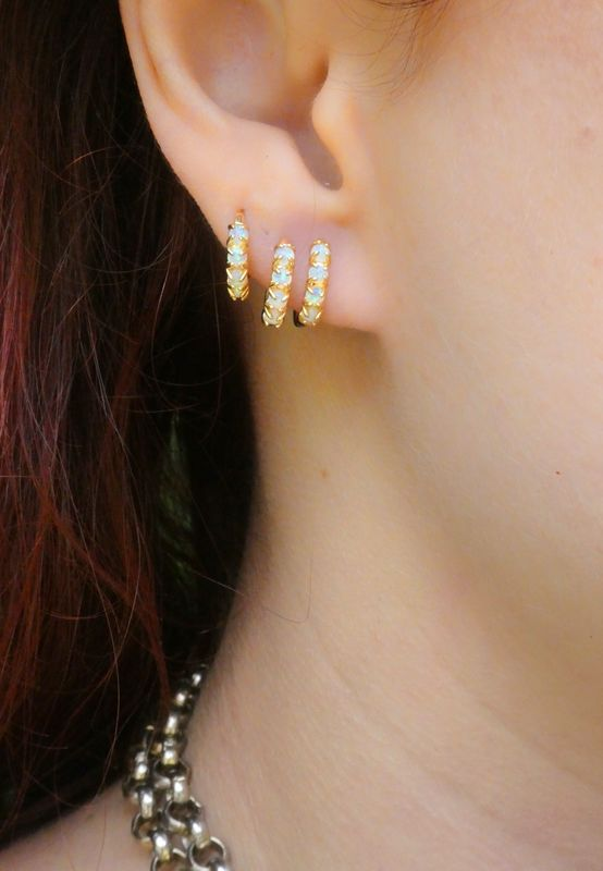 Cosmic Energy Simple Opal Huggie Hoop Earrings - product image