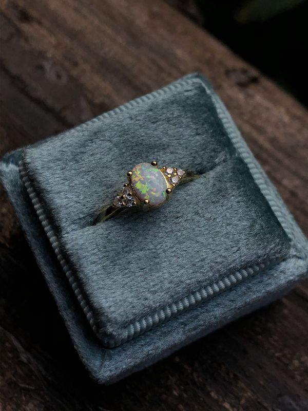 Snowdrop Opal Vintage Style Gold Vermeil Ring - product image