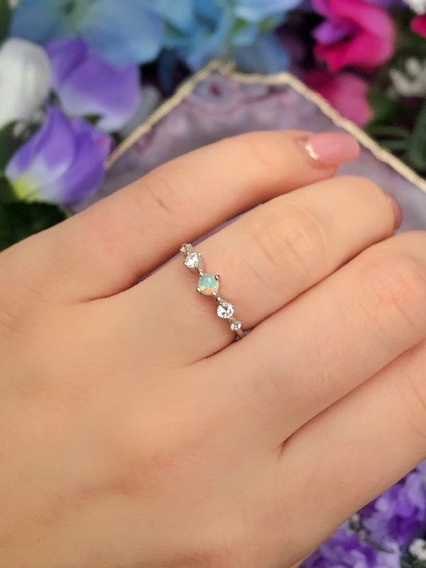 Angel Tears Opal Vintage Style Sterling Silver Ring - product image