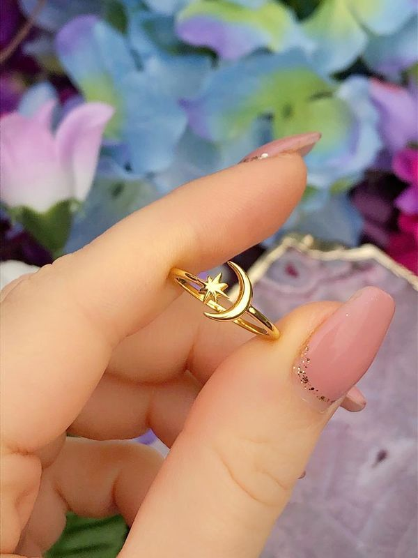 Gold Crescent Vintage Style Sterling Silver Ring - product image