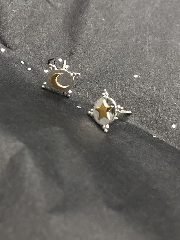 Sterling Silver Astral Shield Studs - product image