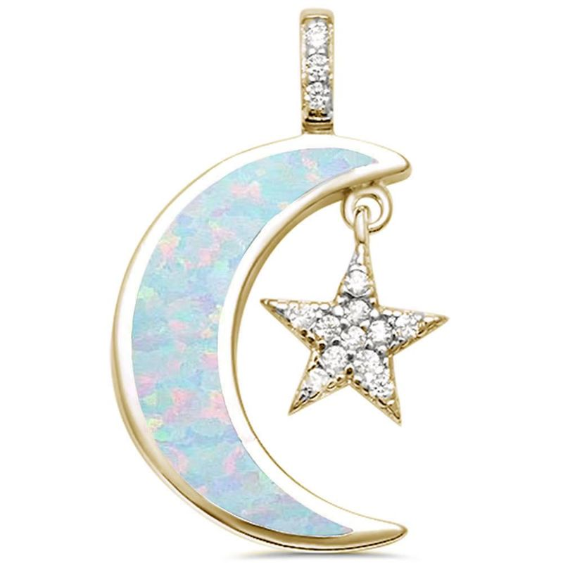 Milky Way Gold Vermeil Sterling Silver Opal Moon Necklace - product image