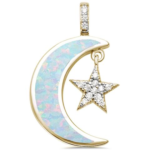 Milky,Way,Gold,Vermeil,Sterling,Silver,Opal,Moon,Necklace
