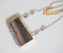 Gemstone,Amethys,Necklac-Amethyst,Slices,24k,gold,edge,double,bail,necklace,-,Handmade,Druzy,amethyst,slice,drusy,pendant,Exclusive,desig,Jewelry,Necklace,Locket,amethyst_necklace,amethyst_slice,amethyst_pendant,druzy_necklace,druzy_pendant,gemstone_druzy,beadwork,statement_necklace,statement_pendant,for_her,christmas,holiday,mothers_day,amethys druzy slice,amethyst rondelles,gold filled ch