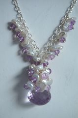 Pink Amethyst onion briolette,keishi pearl and zircon necklace. - product images 2 of 4