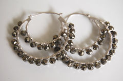 Gorgeous Mystic Pyrite  double hoop earrings - product images 2 of 4