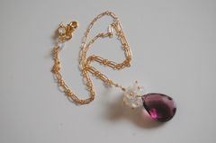 Rhodolite and Moonstone necklace with gold filled chain - product images 4 of 4