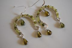 Green shaded zircon and  olive green crystal quartz  dangle earrings - product images 2 of 4