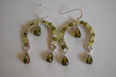Green shaded zircon and  olive green crystal quartz  dangle earrings - product images 3 of 4