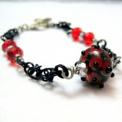 Red,and,Black,Handmade,Chainmaille,Lampwork,Bracelet,handmade chainmaille, handmade bracelet, red,black, lampwork glass, bold, chunky, chainmail, ren fair, reneissance fair, medieval