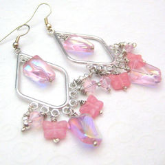 Shimmering,Pink,and,Silver,Chandelier,Butterfly,Earrings,Jewelry,handmade_earrings,chandelier_earrings,silver,pink,butterflies,sparkle,dangle,sophisticated,dinner_party,bold,sassy,beadsteam