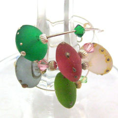 Handmade,Lampwork,Sea,Glass,Disc,Wine,Charms,Pink,Green,Blue,Rose,Housewares,Kitchen,Wine_Charm,handmade_wine_charms,sea_glass,pink,green,blue,party,dinner_party,beadsteam,handmade_lampwork,disc_beads,matte_finish,wine,gathering,handmade_lampwork_glass,bicone_crystals,silver_plated_findings,sterling_silver_head_pins