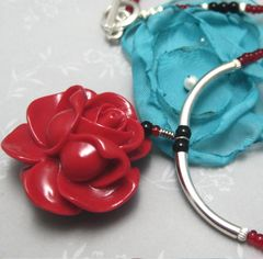 Red,Rose,Turquoise,and,Sterling,Silver,Beaded,Necklace,Jewelry,red_rose_focal,turquoise_glass_bead,red_glass_beads,black_glass_beads,sterling_silver,toggle_clasp,elegant,sophisticated,evening_wear,silverriverjewelry,southwest,faux_coral,red_turquoise_and_black_glass_beads,sterling_silver_beads