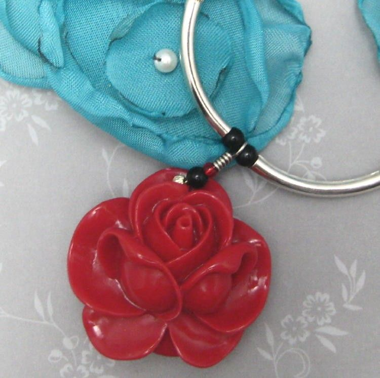 Red Red Rose Turquoise and Sterling Silver Beaded Necklace - product images  of