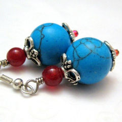 Handmade,Silver,and,Turquoise,Howlite,Earrings,Ruby,Red,Blue,Jewelry,Stone,handmade_earrings,turquoise,ruby_red,silver,dangle,southwest,casual,contemporary,beads_team,everyday_wear,office_wear,silverriverjewelry,silver_river_jewelry,glass_beads,turquoise_dyed_howlite,silver_plated_ear_wires,silver_plated_b