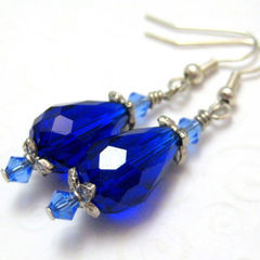 Handmade,Cobalt,Blue,Crystal,Teardrop,and,Silver,Earrings,Jewelry,Wire_Wrapped,handmade_earrings,faceted_teardrop,bright_cobalt_blue,silver_plated,beads_team,elegant,sophisticated,formal,dressy,dangle,sparkle,swarovski_crystals