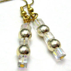 Handmade,Wire,Wrapped,Dangle,Earrings,Golden,Ice,Jewelry,handmade_earrings,dangle_earrings,gold,silver,sparkle,formal,square,round,metallic,glass_beads,metal_beads,gold_plated_ear_wires