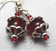 Silver,and,Ruby,Red,Dangle,Earrings,Jewelry,wire_wrapped,glass,ruby_red,silver,elegant,sophisticated,silver_river_jewelry,winter,christmas_red,silver_plated_findings
