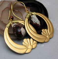 Handmade,Earrings,Brass,and,Jasper,Stone,Teardrops,Jewelry,Wire_Wrapped,stone,metal,hoop,dangle,jasper_stone,teardrop,brass,maroon,gray_grey,handmade_earrings,handmade_hoops,brass_hoop,brass_wire