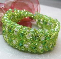 Handmade,Sunlit,Meadows,Green,Beadwoven,Crystal,Glass,Bracelet,Jewelry,Beadweaving,beadwork,crystal_glass,green,white,sparkle,bold,bright,handmade,sunny_meadows,double_flat_spiral,evening_wear,swarovski_crystals,seed_beads,czech_crystals