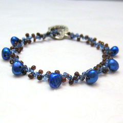 Blue,Freshwater,Pearl,Beadwoven,Bracelet,With,Heart,Clasp,Jewelry,Beadweaving,beadwork,royal_blue,freshwater_pearls,seed_beads,brown,7_inches,elegant,dainty,heart_toggles,beadweaving,tasrete_team,beadsteam,beach,royal_blue_dyed_mother_of_pearl,heart_toggle