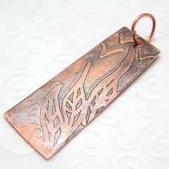 Copper,Pendant,With,Etched,Leaves,and,Birds,Jewelry,Metal,copper_pendant,etched_pendant,original_art,original_drawing,birds,grass,tasrete_team,beadsteam,landscape_art,metal,metalwork,copper