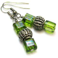Green,Metallic,and,Silver,Handmade,Earrings,Jewelry,Glass,handmade_earrings,grass_green,silver,metallic,cube_beads,tasrete_team,beads_team,dangle,casual,flirty