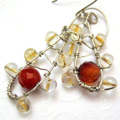 Handmade,Sterling,Silver,Earrings,with,Faceted,Carnelian,and,Citrine,Jewelry,Wire_Wrapped,handamde_earrings,sterling_silver,citrine,faceted_carnelian,orange,yellow,wire_wrapped,tear_drop,tasrete_team,beadsteam,sterling_silver_wire,citrine_rounds