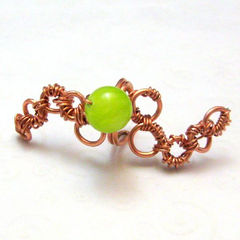 Lime,Green,Handmade,Wire,Wrapped,Copper,Ear,Cuff,Jewelry,Earrings,Ear_Cuff,handmade_earcuff,copper_ear_cuff,wire_wrapped,lime_green,casual,tasrete_team,beadsteam,links,chain_links,no_piercing,clip_on,glass_bead,copper_wire