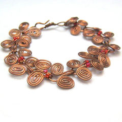 Copper,Egyptian,Coil,Wire,Wrapped,Bracelet,with,Fuschia,Pink,Seed,Beads,Jewelry,Wire_Wrapped,handmade_bracelet,copper_bracelet,Egyption_coil,hot_pink,orange,wire_wrapped,tasrete_team,beadsteam,copper_wire,seed_beads