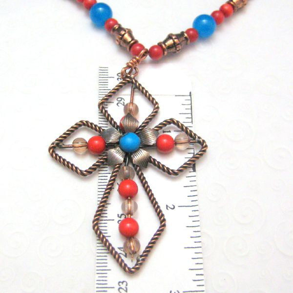 Turquoise Orange and Copper Handmade Cross Necklace - product images  of