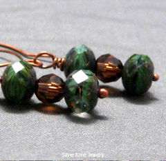 Green,and,Copper,Earrings,Mother,Earth,Jewelry,Glass,handmade_earrings,copper_earrings,green,glass,dangle,informal,casual,girls_night_out,tasrete_team,beads_team,copper,glass_beads