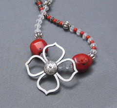 Asymmetrical,Silver,and,Coral,Flower,Necklace,Jewelry,Glass,handmade_necklace,coral,red_orange,sea_glass,flowers,man_made,silver,tasrete_team,beadsteam,toggle_clasp,chunky,bold,man_made_coral,glass_beads,silver_plated_toggle_clasp,silver_plated_findings