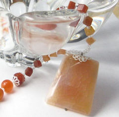 Orange,Cream,Crab,Agate,and,Carnelian,Necklace,Jewelry,Stone,Handmade_necklace,crab_agate,carnelian,quartz,square,round,orange,rust,tasrete_team,beadsteam,cubes,heart_toggle,silver,Crab_agate,silver_plated_heart_toggle,filigree_bead_caps