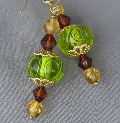 Lampwork,Earrings,with,14k,Gold,Filled,Wire,Edens,Forest,Green,Brown,Jewelry,Glass,handmade_earrings,lampwork_earrings,green,brown,gold,woods,earthy,rustic,tasrete_team,beads_team,forest,lampwork_glass,glass,gold_filled_14kt_wire
