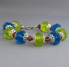 Lake,and,Forest,Lampwork,Bracelet,Blue,Green,Brown,Silver,Handmade,Jewelry,Glass,handmade_bracelet,lampwork_glass,lampwork_bracelet,blue,green,topaz,organic,forest,tasrete_team,beads_team,silverriverejwelry,glass_beads,silver_plated_bead_caps