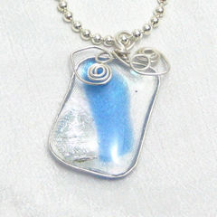 Moonlight,Hearts,Pendant,Handmade,Fused,Glass,and,Sterling,Silver,Blue,Jewelry,handmade_pendant,fused_glass_pendant,blue,silver,sterling_silver,heart,wire_wrapped,tasrete_team,beadsteam,dichroic,elegant,romantic,romance,fused_glass,sterling_silver_wire