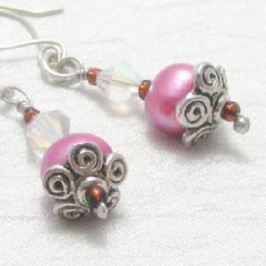 Handmade,Pink,Pearls,and,Sterling,Silver,Dangle,Flower,Earrings,Jewelry,Pearl,handmade_earrings,freshwater_pearls,bright_pink,sterling_silver,flower,topaz,sparkle,tasrete_team,beadsteam,casual,flirty,girls_night_out,glass_beads,dyed_freshwater_pearls,sterling_silver_wire,silver_plated_bead_caps,seed_beads