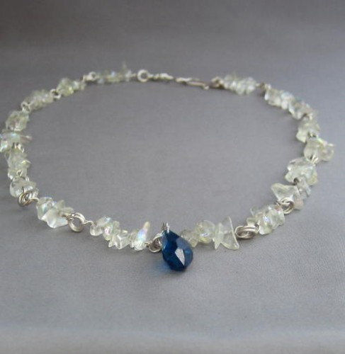 Dark Midnight Blue Faceted Teardrop With Icy White Chip Beads Necklace - product images  of