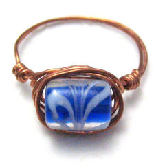Handmade,Copper,Wire,Wrapped,Ring,Blue,and,White,Swirl,Size,9,Jewelry,handmade_ring,copper_ring,wire_wrapped_ring,blue,white,lampwork_glass,glass_bead,tasrete_team,beadsteam,size_9,casual,lampwork_glass_bead,copper_wire