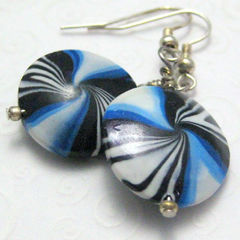 Handmade,Blue,Black,and,White,Polymer,Clay,Earrings,Jewelry,Polymer_Clay,handmade_earrings,polymer_clay,stripes,blue,black,white,lentil,tasrete_team,beadsteam,dangle,casual,silver_plated_findings