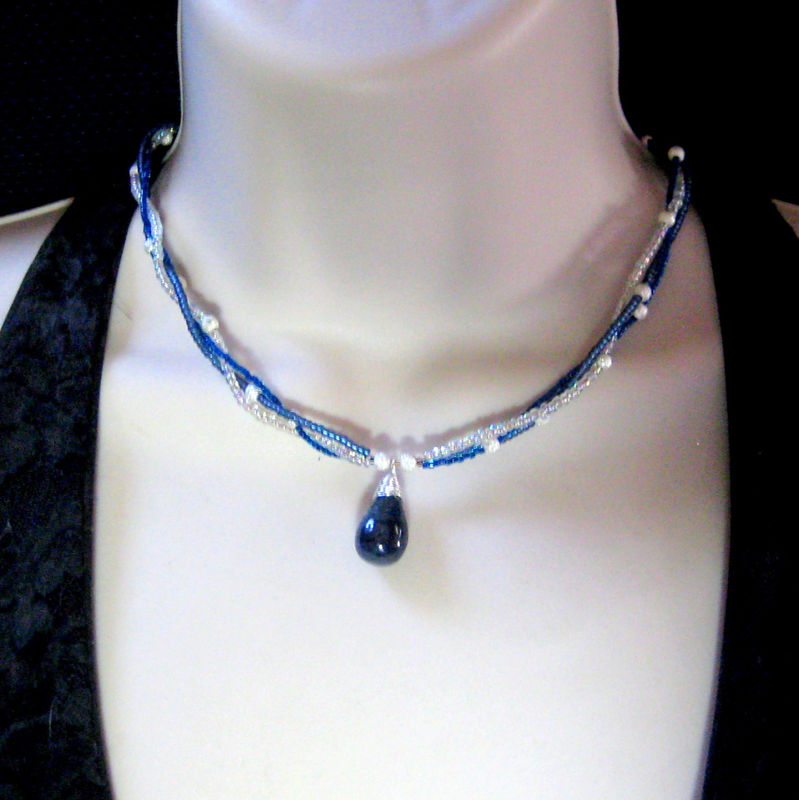 Blue Sapphire Sterling Silver Wire Wrapped Teardrop Braided Seed Bead Necklace - product images  of