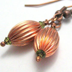 Handmade,Copper,And,Olive,Green,Earrings,Jewelry,Metal,handmade_earrings,copper_earrings,Swarovski_crystals,olive_green,pleated,tasrete_team,beadsteam,casual,formal,dining_out,copper_beads,copper_ear_wires,swarovski_crystals,copper_wire
