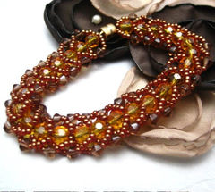 Golden,Brown,and,Yellow,Flat,Spiral,Stich,Beaded,Bracelet,Jewelry,Beadweaving,handmade_bracelet,beadweaving,golden_brown,yellow,swarovski_crystals,flat_spiral_stitch,magnetic_clasp,tasrete_team,beadsteam,formal,dressy,silverriverjewelry,czech_crystals,seed_beads