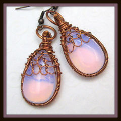 Handmade,Glass,Wire,Wrapped,Netted,Earrings,Soft,Pink,Jewelry,Wire_Wrapped,handmade_earrings,wire_wrapped,copper,weaving_woven,ren_faire,renaissance,pink_opalite,netted,copper_wire,tasrete_team,beadsteam,formal,opalite,copper_ear_wires