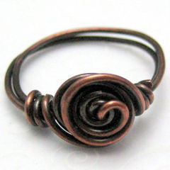 Copper,Single,Spiral,Handmade,Wire,Wrapped,Ring,Jewelry,handamde_ring,copper_ring,wire_wrapped,size_8,organic,rustic,primitive,silverriverjewelry,copper_wire