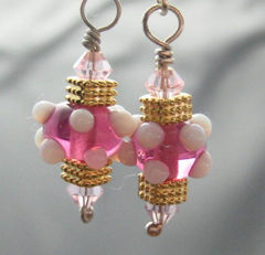 Sterling,Silver,And,Rosy,Pink,Lampwork,Earrings,Jewelry,Glass,handmade_earrings,gold,silver,pink,white,dots,lampwork_earrings,tasrete_team,beadsteam,firedivasteam,dangle,casual,girls_night_out,handmade_lampwork_glass,gold_plated_findings,sterling_silver_wire,swarovski_crystals