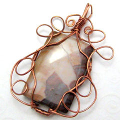 Picture,Jasper,Copper,Wire,Wrapped,Handmade,Pendant,Tan,Brown,Cream,Jewelry,Wire_Wrapped,handmade_pendant,wire_wrapped_pendant,stone_pendant,picture_jasper,brown,cream,tan,copper,tasrete_team,beadsteam,rustic,western,earthy,picture_jasper_stone,copper_wire