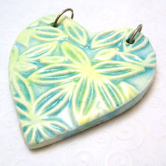 Large,Blue,Green,Yellow,Ceramic,Flower,Heart,Handmade,Jewelry,Pendant,handmade,ceramic_pendant,heart_pendant,flower_pendant,green,yellow,blue,tasrete_team,beadsteam,floral,earthy,garden,ceramic,plated_jump_rings